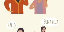 4 Personen als Illustration mit Sprechblase