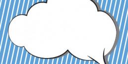Sprachblasen-Wolke auf blau-weiß gestreiftem Hintergrund